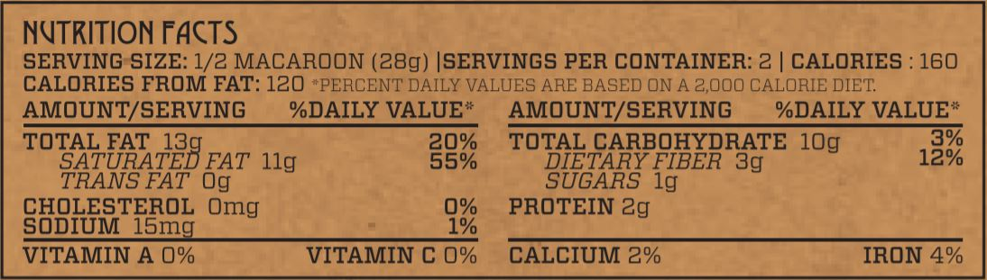 Orange Chocolate Superfood Macaroon Nutrition Facts