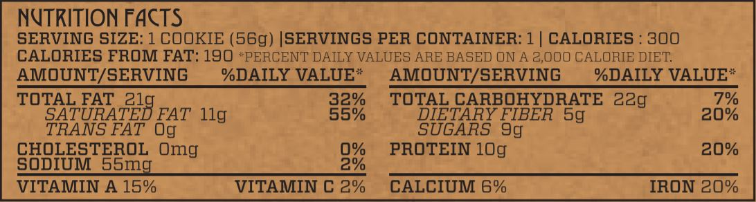 Chocolate Power Protein Cookie Nutrition Facts